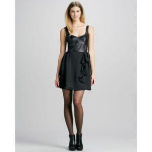 Nanette Lepore Black Leather Dress, Anthropologie